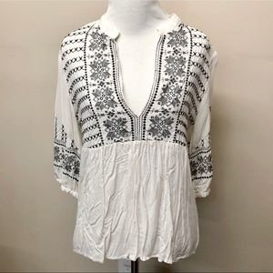 TwentyOne Embroidered V-Neck High Low Blouse
